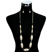 LONG BEADED OBLONG PEARL NECKLACE ST