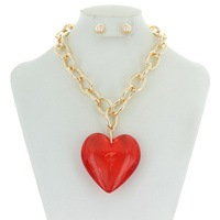 CHAIN NK SET W/ LRG HEART CHARM