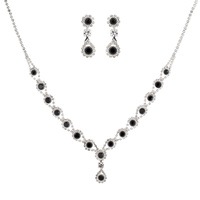 RHINESTONE V SHAPE RND DROP NECKLACE SET