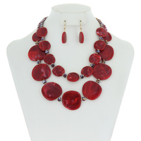 LAYERED FORMICA AND GLASS BEAD NK SET