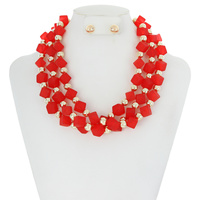 ACRYLIC SQ BEADS AND RND BEAD NECKLACE SET