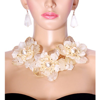 MILKY STONE FLOWER NECKLACE