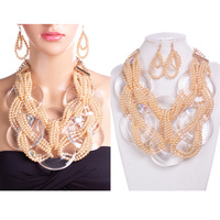 TWISTED BEAD NECKLACE SET W/ LRG CLEAR DISCS