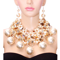 PEARL N METALLIC STONE NECKLACE