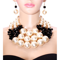 PEARL WITH CRYSTAL CLUSTER NECKLACE