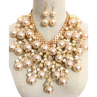 MULTI-SHAPED PEARL N CRYSTAL NECKLACE