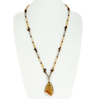 TEARDROP NATURAL STONE PENDANT GLASS BEAD NECKLACE