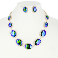OVAL RHINESTONE LINK NECKLACE AND EARRINGS SET