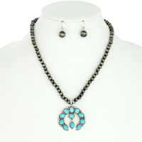 SQUASH BLOSSOM WESTERN STYLE TURQUOISE PENDANT NAVAJO NECKLACE AND EARRINGS SET