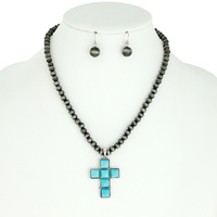CROSS WESTERN STYLE TURQUOISE PENDANT NAVAJO NECKLACE AND EARRINGS SET