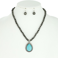 TEARDROP WESTERN STYLE TURQUOISE PENDANT NAVAJO NECKLACE AND EARRINGS SET