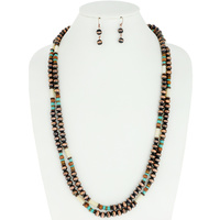 WESTERN NAVAJO PEARL NECKLACE AND EARRINGS SET