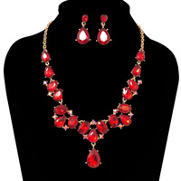 DANGLY GEM CLUSTER NK/ER SET