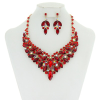 METAL RHINESTONE NECKLACE BIB SET