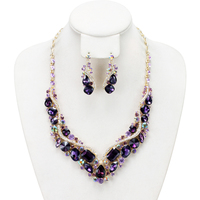 V Shape Stone Cluster Necklace And Earrings Set Nbq990Gpu
