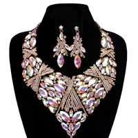 FANCY STONE BIB NECKLACE/ER SET
