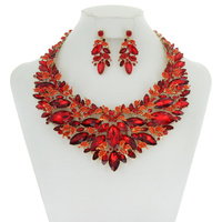 CHUNKY STONE LEAF NECKLACE SET