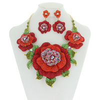 STATEMENT ROSE STONE NECKLACE SET