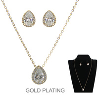 GOLD POPULAR DAINTY TEARDROP CZ NECKLACE SET