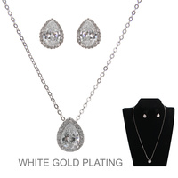 SILVER POPULAR DAINTY TEARDROP CZ NECKLACE SET