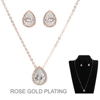 DAINTY TEARDROP CZ NECKLACE SET