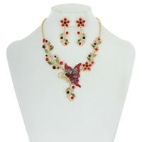 Metal with Stones Butterfly and Flowers Necklace and Earrings Set