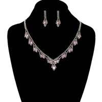 RHINESTONE NECKLACE SET W/ MARQUISE STONES