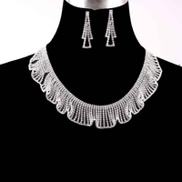 RUFFLE BIB RHINESTONE NECKLACE SET