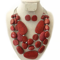 Chunky 3 Layer Semi Precious Stone Statement Necklace and Earrings Set