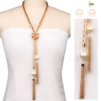 Metal Mesh Chain With Pearls And Tassels Lariat Fashion Necklace And Earrings Set