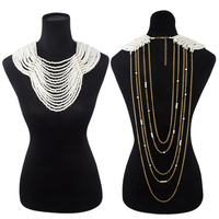 Extra Large Multi Layer Front Pearl With Drapey Chain Back Necklace And Earrings Set Npy032Cr