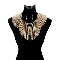 GOLD ELEGANT MULTI LAYER PEARL NECKLACE WITH BACK CHAIN