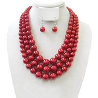 3 Layer Large Pearl Strands Extra Chunky Necklace And Earrings Set