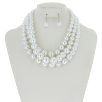 5 Layer Large Pearl Strands Extra Chunky Necklace And Earrings Set