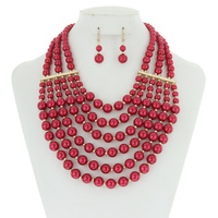 Multi Layered Pearl Strand Necklace And Earrings Set Npy058Grd