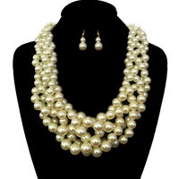 Multi Pearl Strands Braided Chunky Necklace And Earrings Set Npy061Gcr