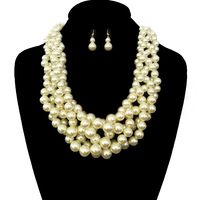 Multi Pearl Strands Braided Chunky Necklace And Earrings Set Npy062Gcr