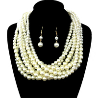 Multi Layered Pearl Strands Chunky Necklace And Earrings Set Npy063Gcr
