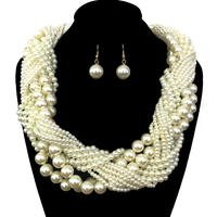 Multi Pearl Strands Braided Chunky Necklace And Earrings Set Npy064Gcr