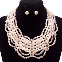 BEADED PEARL COLLAR NECKLACE SET