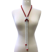 LONG ROPE AND PEARL NEAKLACE SET