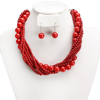 RED BEAUTIFUL PEARL NECKLACE
