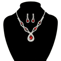 RHINESTONE NECKLACE SET W/ TEARTDROP
