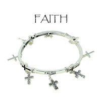 Religious Message Faith Metal Stretch Bracelet With Dangly Cross Charms Ob06663As