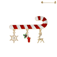 CANDYCANE W/ DANGLY CHARMS BROOCH