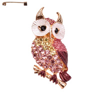 OWL METAL CASTING STONE BROOCH