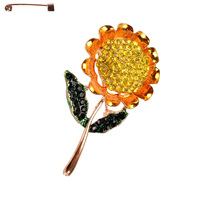 SUNFLOWER METAL CASTING STONE BROOCH
