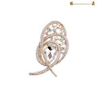 Teardrop Gem With Stone Swirl Brooch Pin Py3419Gca