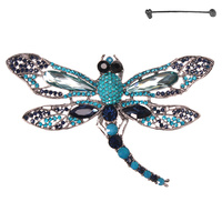LARGE DRAGONFLY METAL STONE BROOCH