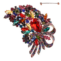 FLOWER CLUSTER BOW METAL STONE PIN